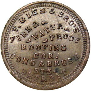 1863 Detroit Michigan Civil War Token F Gies Amp Bro S Fire