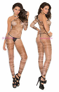 8dfcb3d68aa Details about Diamond Net BODYSTOCKING One Shoulder TIE DIE Part CLOSED  CROTCH 15% Spandex OS