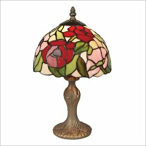 Sale price 20 cm poppy stained glass table lamp bulb included image is loading sale price 20 cm poppy stained glass table aloadofball Image collections