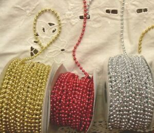 String-of-Pearls-RED-SILVER-amp-GOLD-4-mm-2-3-amp-5-Metres-3-Colour-Choice-V7