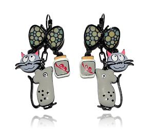 Papillon Boucles d/'Oreilles Chat Gourmand Paris Gris Lol Bijoux Souris