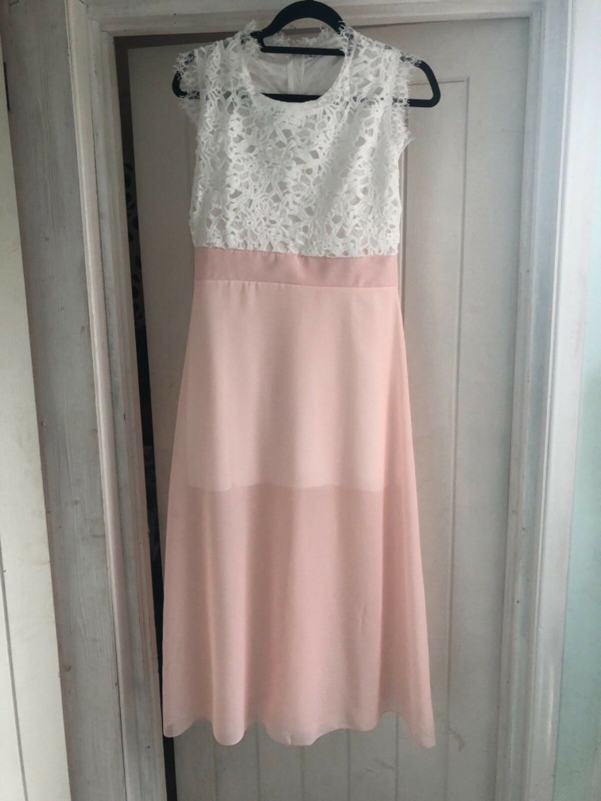 Ladies long length dress with lace effect prom  wedding bridesmaid party size 10
