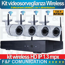 KIT VIDEOSORVEGLIANZA WIRELESS WIFI 4 TELECAMERE HD FULL HD AHD 1.3 MX ESTERNO