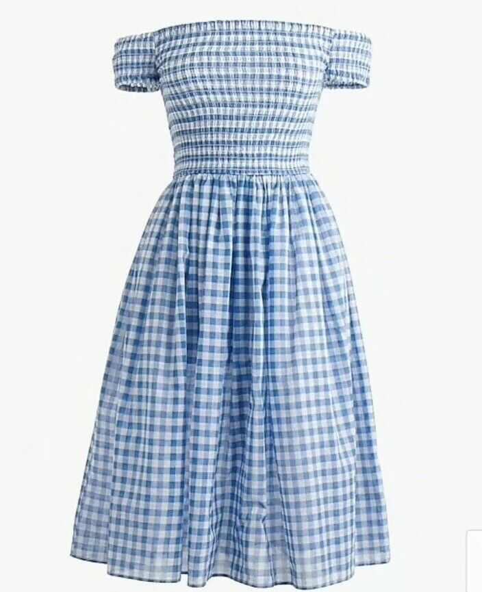 39. J. Crew smocks Off-The-épaule Vichy Plage Robeing M Neuf avec étiquettes