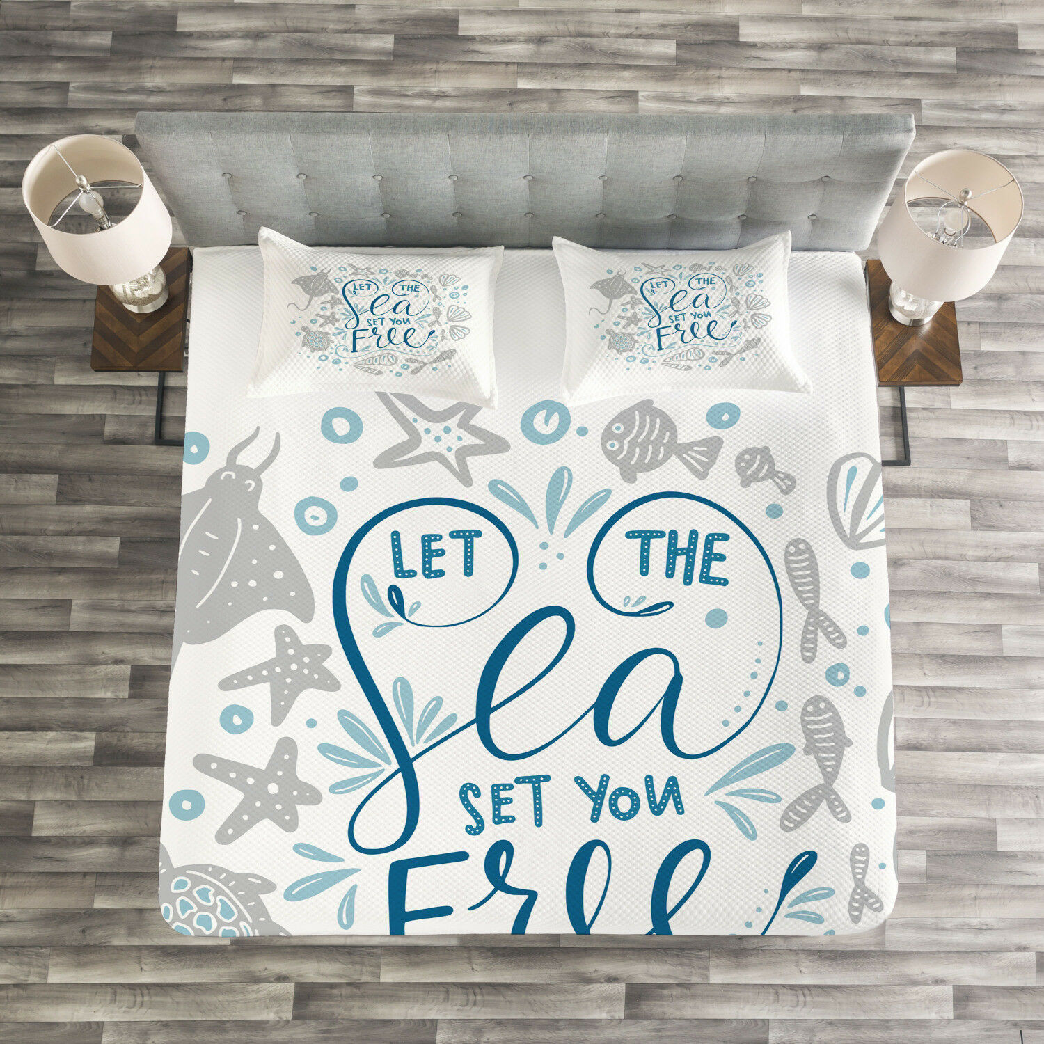 Nautical Quilted Bedspread & Pillow Shams Set, Marine Quote with Fish Print