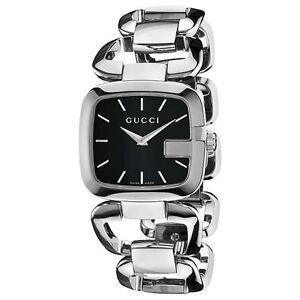 d89d0f26ac6 Gucci YA125407 Womens 125.4 Series Silver Tone Stainless Steel Black ...