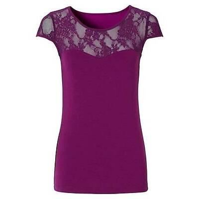 Bodyflirt Spitzenshirt Top Shirt Longshirt Tunika Bluse T-Shirt Beere 955365