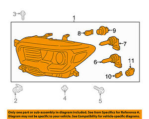 toyota oem 16 17 tacoma headlight assembly right 8111004260 ebay rh ebay com 2002 toyota tacoma headlight wiring diagram 2006 toyota tacoma headlight wiring diagram