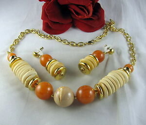Gorgeous-Earth-Tones-BEaded-Necklace-amp-Earrings-Set-CAT-RESCUE