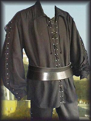 Medieval Pirate Lace Up Shirt 3 Colours Cotton Larp SCA Reenactment Vintage