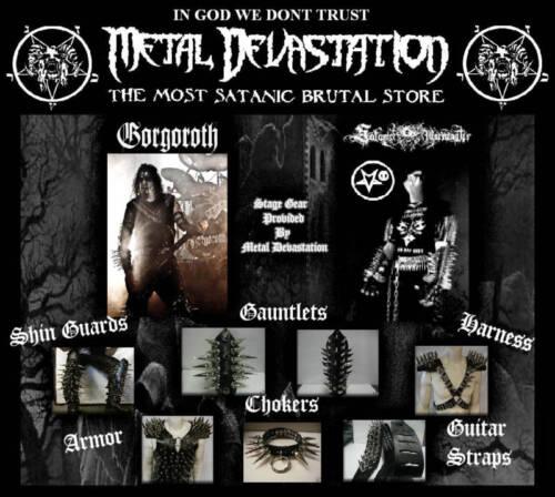 Inquisition/'s .. mdlg 0113 métal noir Cuir Long Spike brtal Gantelets