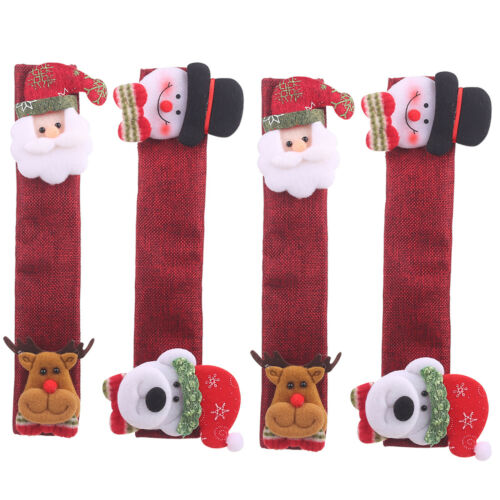 4pcs Christmas Refrigerator Door Handle Covers Kitchen Oven Appliance Home Decor