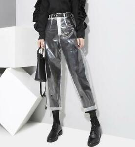 UK-Womens-Transparency-High-Waist-Straight-Legs-Slim-Clear-Pants-Casual-Trousers