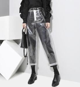 Stylish-Womens-High-Waist-Straight-Legs-Slim-Clear-Pants-Casual-Trousers-Hot-New