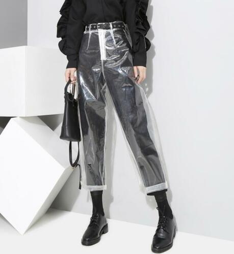 Stylish Womens High Waist Straight Legs Slim Clear Pants Casual Trousers Hot New