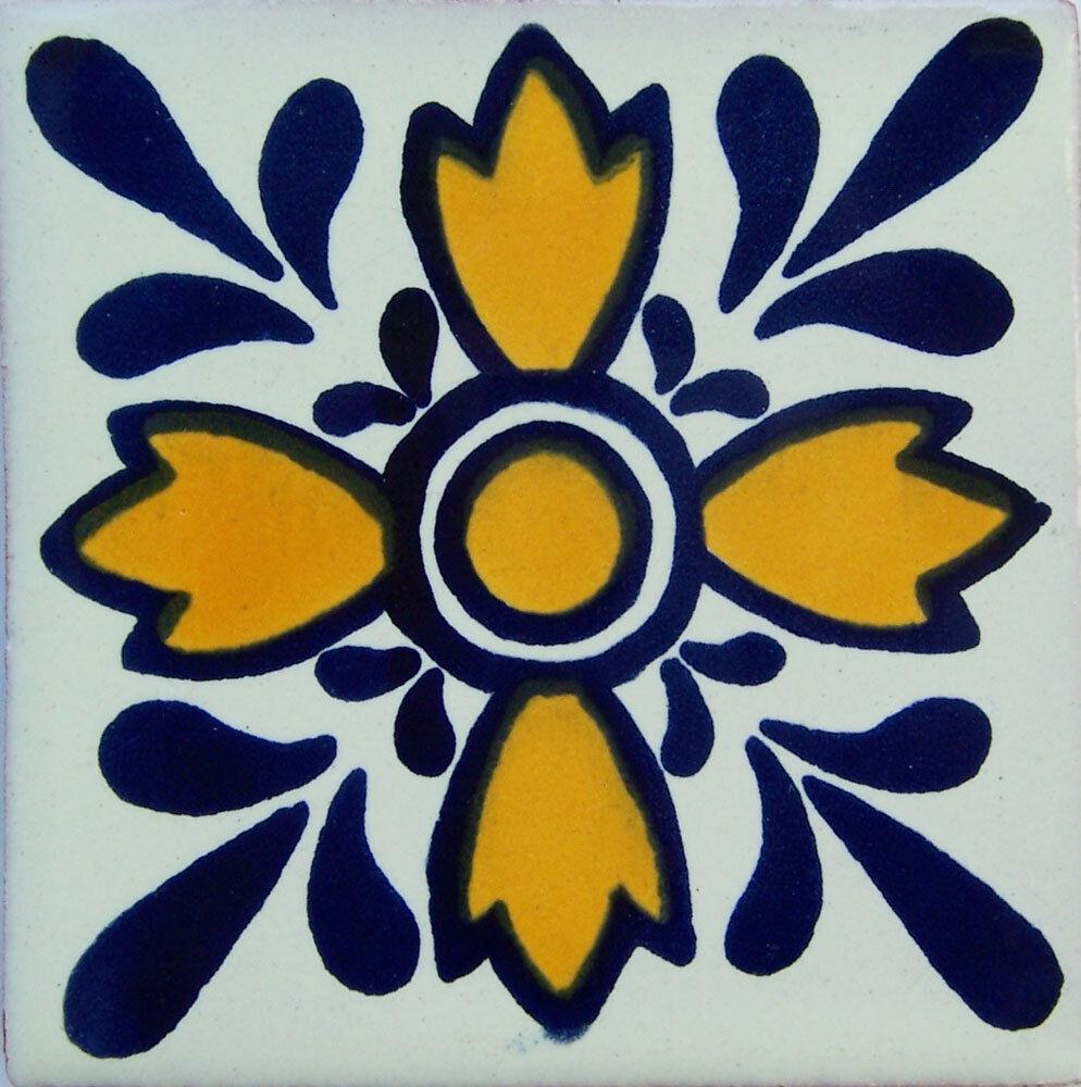 C077- Mexican Handmade Talavera Clay Tile Folk Art 4x4