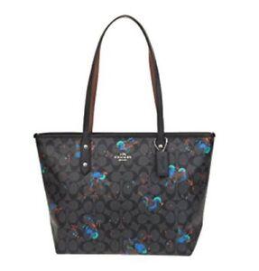 Coach City Zip Tote with Bird Print Handbag Purse Bag Black Multi