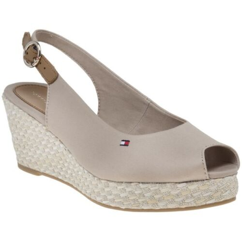 New Womens Tommy Hilfiger Natural Iconic Elba Slingback Canvas Sandals Buckle