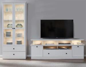 Details zu Wohnzimmer Möbel Set Wohnwand weiß Landhaus Vitrinenschrank und  Lowboard Baxter