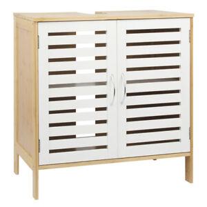 Waschbeckenunterschrank-Bambus-MDF-weiss-Badschrank-Waschtischunterschrank