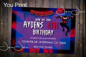 Spider Man Into The Spider Verse Party Invitation You Print Ebay