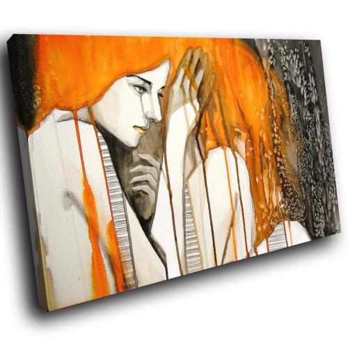 E157 Orange Noir Blanc Rétro Femme Moderne Toile Wall Art Photos Grand Imprime
