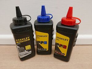 3 X STANLEY 225G FATMAX CHALK LINE REFILLS BLACK RED /& BLUE