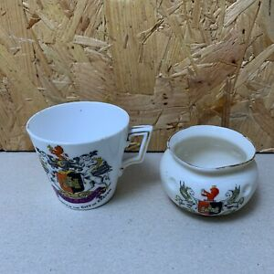 2-x-Vintage-Exeter-Crested-Ware-Cup-amp-Pot-Anglo-Heraldic-amp-Shelley