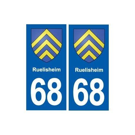 68 Ruelisheim blason autocollant plaque stickers ville droits