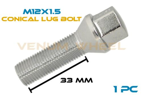1pc 33mm Shank Chrome Conical Replacement Lug Bolt 12x1.5 Fits Aftermarket Wheel