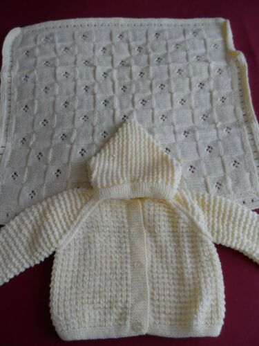ASSORTED HAND KNITTED HOODED JACKETS AND MATCHING PRAM BLANKET.