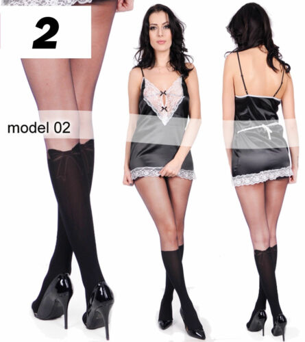 DAMEN STRUMPFHOSE Overkness-Kniestrümpfe-Look schwarz Schleife Rock Kleid S-XL