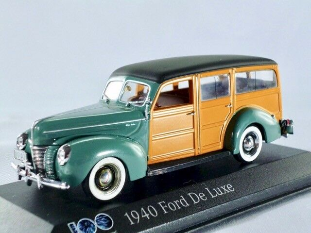 1940 Ford De Luxe turquoise marron clair (100 ans FORD) MINICHAMPS 1 43