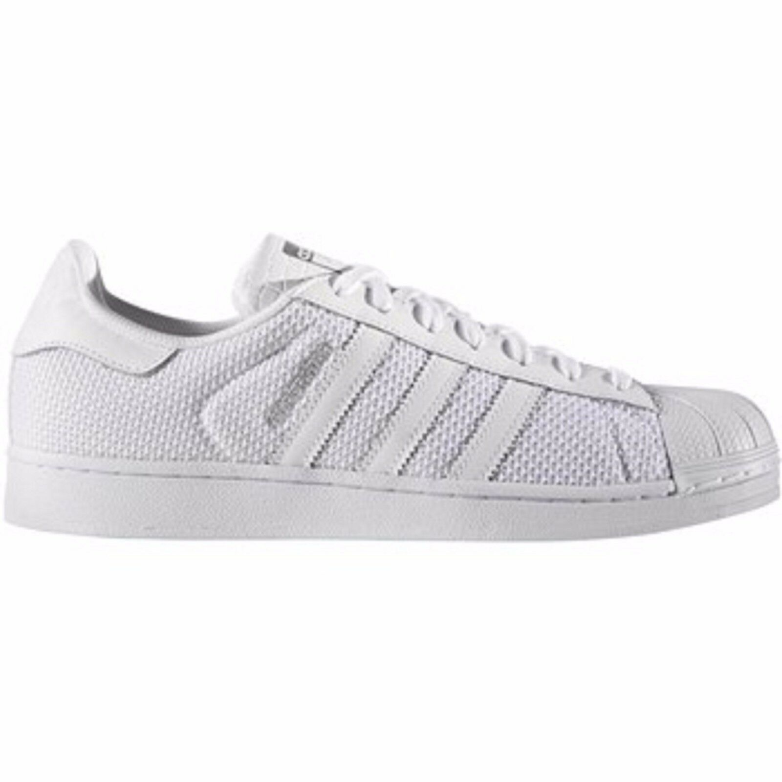 b90829b53798 hot sale 2017  S75962  Mens Adidas Originals Superstar Breathable Knit  Triple White  NEW