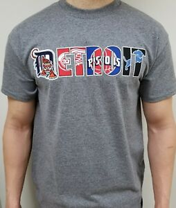 7dbf983d4eec8f DETROIT PRO TEAM LOGOS T-SHIRT RED WINGS TIGERS LIONS PISTONS | eBay