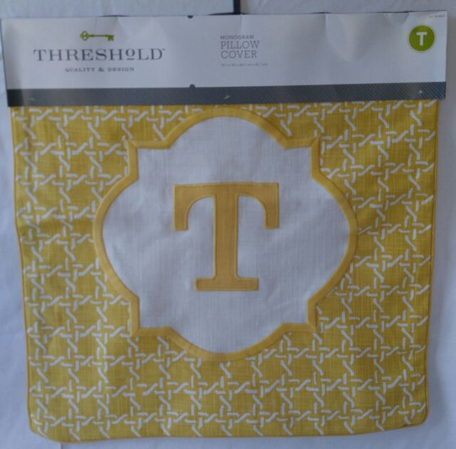 Threshold Monogram Throw Pillow Cover Yellow Letter T 40 X 40 Inspiration Monogrammed Throw Pillow Covers