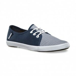 299a93f90f VANS Tazie (Skinny Stripes) Navy White Surf Siders Casual WOMEN S ...