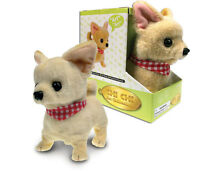 Chihuahua Dog Lifelike Stuffed Animal Barking Walking Wagging Electronic Toy