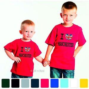 b7b81785e3d9 CUSTOM KIDS I LOVE MANCHESTER T-SHIRT 100% COTTON BRITAIN FLAG MCR ...