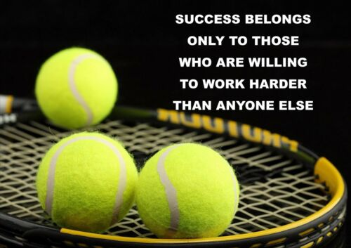 PICTURE SUCCESS BELONGS PRINT TENNIS MOTIVATIONAL QUOTE SIGN// POSTER