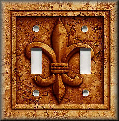 Metal Light Switch Plate Cover French Fleur De Lis Decor Aged Stone Orange Rust