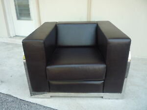 Image Is Loading HUGE ARCHITECTURAL CHROME FRAME Amp LEATHER CUBE CHAIR