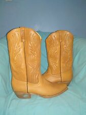Men's Cowboy Western Handcrafted Cow Leather Boots Honey Color size 10 us