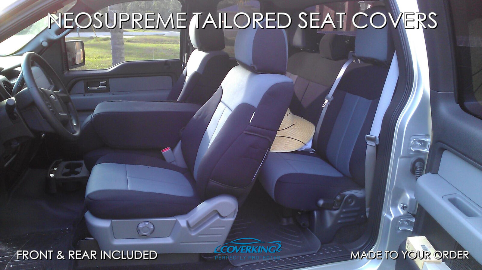 Neosupreme Tan with Black Sides CSC2A5FD9615 Coverking Custom Fit Front 50//50 Bucket Seat Cover for Select Ford Mustang Models