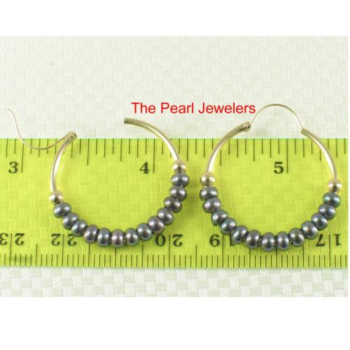 14k or Jaune 25 X1.25 mm Hoop; 3-4 mm Noir//blanc culture perle boucles d/'oreilles TPJ
