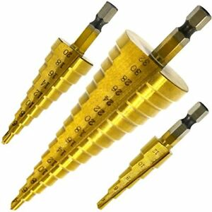 Hiveseen-3pcs-Step-Cone-Drill-Bit-Set-Multi-Metric-Size-4-12-20-32mm-HSS-Steel