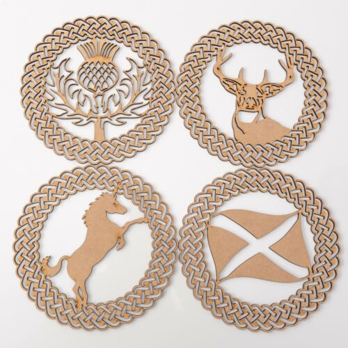 Stag head Wooden MDF Plaques Scottish Thistle Unicorn /& Flag -set of 4 items