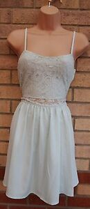 H-amp-M-MINT-GREEN-LACE-FLORAL-STRAPPY-A-LINE-SKATER-FLIPPY-TEA-RARE-DRESS-10-S