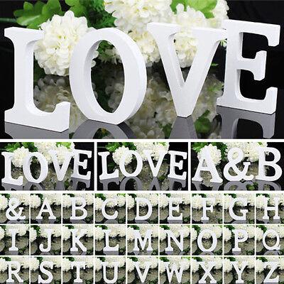 1 x 3D Weiß Holz Buchstaben Hochzeitsfest Zuhause Deko Aufsteller A-Z & Form Neu