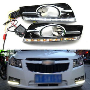 LED DRL Turn Indicator Signal Daytime Running Fog lights Fit For Chevy Cruze 09+